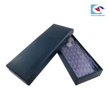 caja mate de cartulina gruesa negra de lujo del embalaje de la corbata