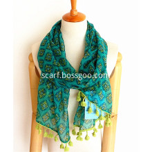 Hot Selling Dot Printing Polyester Scarf with Tassels