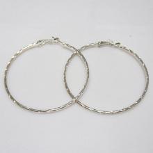 New hot design metal big hoop earrings, round shaped, 6cm in diameter, rhodium plating,christmas gift