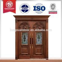 Conception de porte à double entrée en bois de teck / Portes d'intérieur en bois massif utilisées