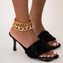 European and American Golden Silver Beach Punk Hip Hop Cuban Tassel Snake Bone Cross Chain Set Fashion Jewellery Anklet Bracelet for Women