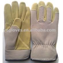 Gant de travail - Gant de travail - Gant de sécurité - Gant de jardin - Gant en cuir - Gant gris et beige