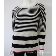 venta al por mayor de punto o cuello rayas suéter puro diseño de cachemira para las mujeres