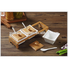 ceramic cookware 3pcs condiments set with bamboo holder rack