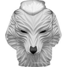 Sweat à capuche impression 3D loup souriant blanc