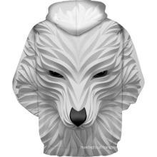 White smiling wolf 3D printing hoodie