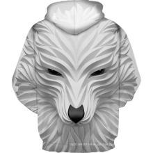 Weißer lächelnder Wolf 3D-Druck Hoodie