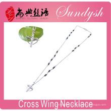 Kreuz Halskette Rosenkranz Schmuck Silberkette Engelsflügel Kreuz Anhänger Halskette