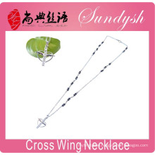 Cross Necklace Rosaries Jewelry Silver Chain Angel Wing Cross Pendant Necklace