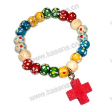 Plum Blossom Wood Beads Mixed Colour with Cross Bracelet