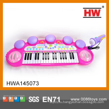 Забавный детский электронный игрушечный пианино пластиковый игрушечный пианино с микрофоном