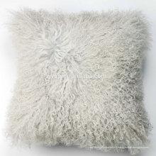 Coussin de fourrure de peau de mouton bouclés mongole coloré de luxe