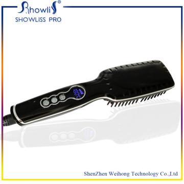 Cepillo de cerámica profesional de la enderezadora del pelo y exhibición de la temperatura del LCD