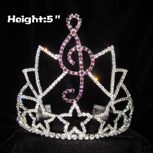 Coronas de cristal al por mayor del desfile de encargo de la nota musical