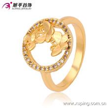 2016 мода золото камень кольцо кольцо света невеста синтетический ювелирные изделия CZ кольца с двойным Butterfies 13521