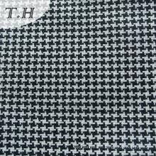Tissu pour canapé à carreaux tissés blancs et blancs