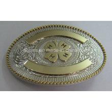 Boucle de ceinture ovale en alliage 3D avec plaquage à 2 tons (ceinture boucle-014)
