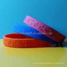 Custom Embossed Braille Silicone Bracelets