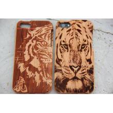 Лазерная Гравировка Тигр Зерна Деревянные Крышки Мобильного