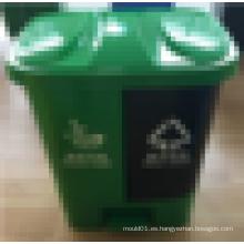2016 El nuevo compartimiento de basura plástica caliente de la venta 40L del diseño divide en dos latas con el pedal de pie
