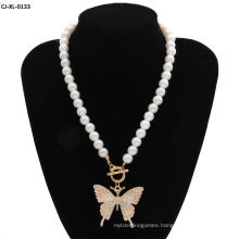Popular Women Large Butterfly Necklace Alloy Imitation Pearl Necklace Wholesale