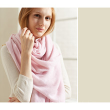 women plain knitted cashmere blended scarf shawl