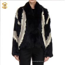 Estilo europeo de punto de las mujeres de invierno abrigo de piel de conejo auténtico