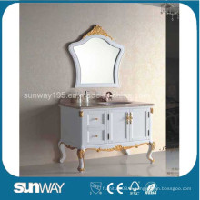 Cabinet de salle de bain antique en style européen avec dessus en marbre (SW-8013)