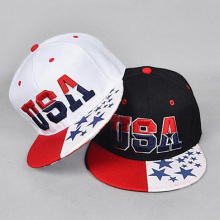 Imprimir EUA Flag Bill Cap Logotipo de bordado 3D USA Snapback Hats Flat Bill Cap