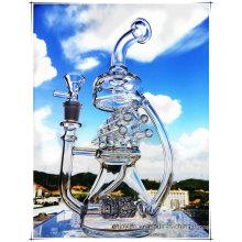 Hb-K62 La mitad de Recycler Perc Forma de la casa de vidrio Pipa de agua para fumadores