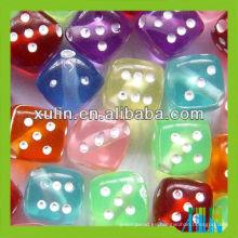 venta caliente transparente cubo multicolor dados carta perlas