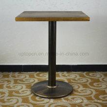 Cuadrado Vintage apenada mesa de madera sólida de restaurante (SP-RT467)