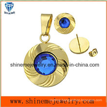 Shineme Jewelry Sets Fashion Gold Plated Ear Stud and Pendant with Blue Stone (ERS6998)