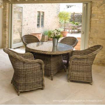 Pátio jardim vime jantar conjunto Rattan ao ar livre mobiliário