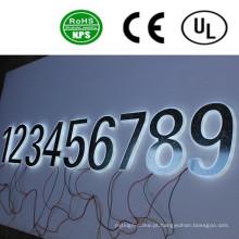 Sinal de número de sinal de letra de canal iluminado de volta de LED de alta qualidade