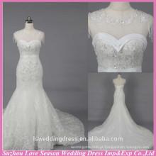 WD6024 Qualidade tecido pesado artesanato qualidade de exportação de boné de mangas de renda longo sereia vestidos de noiva