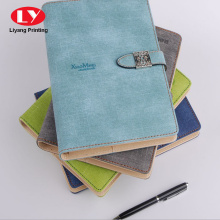 classic leather folder notebook with metal lock