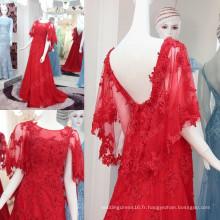 2016 dernières robes de soirée rouge à la mode Robes d'appliques en dentelle Soiree 2016 Longue Sexy V-Back haute qualité Vente chaude ML174