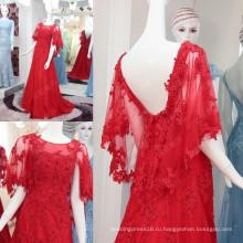 2016 последние мода Красный длинные Вечерние платья кружева аппликация мантия-де-вечер 2016 Лонг сексуальный V-обратно высокое качество горячей продажи ML174