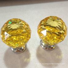 vidrio amarillo bola de cristal mango Empuje Jale las perillas por mayor