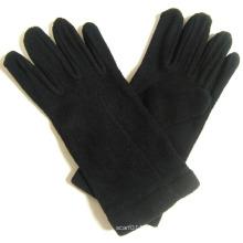 Guantes de invierno de señora Fashion Black Polar Fleece Knitted Warm (YKY5445)