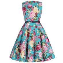 Kate Kasin Niñas sin mangas de cosecha de algodón retro patrón de flores vintage vestido de verano KK000250-14