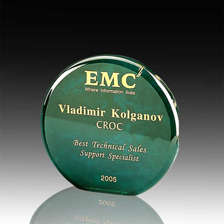 Achievement Award Trophy Plaques Wholesale Acrylic Round Green Awards Wholesale