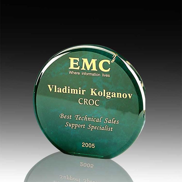 Achievement Award Trophy Plaques Wholesale Acrylic Round Green Awards Wholesale