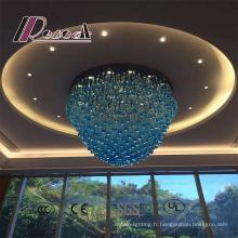 Grand lustre en cristal décoratif moderne d'hôtel de style bleu