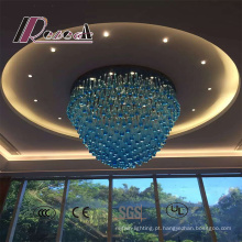 Candelabro de cristal decorativo do hotel azul moderno do estilo grande