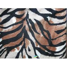 Padrões de zebra impresso tecido de poliéster de veludo