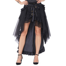 Belle Poque Steampunk Victorian Retro Punk Cincher Lace Up Ruffle Larga Falda Lápiz Abierto BP000206-1