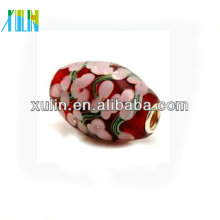 Forme el más nuevo estilo pink flower pattern lampwork glass beads europeo 18 * 20mm