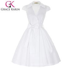 Grace Karin Cap manga cuello de la solapa de cuello en V alto-elástico blanco retro verano vestido de verano CL008953-2